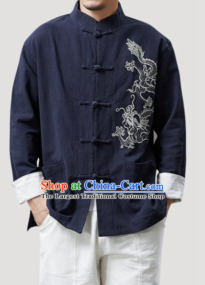 Chinese Traditional Costume Tang Suit Navy Linen Shirts National Mandarin Outer Garment for Men