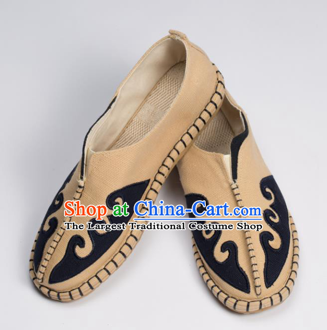 Chinese Traditional Martial Arts Khaki Shoes Kung Fu Shoes Linen Monk Shoes for Men
