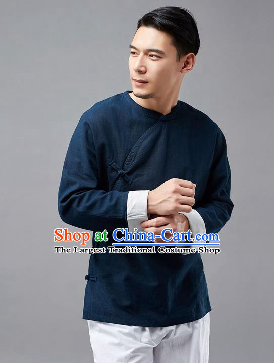 Chinese Traditional Costume Tang Suit Navy Shirts National Mandarin Jacket for Men