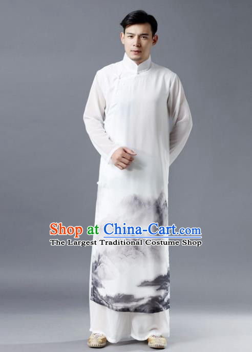 Chinese Traditional Costume Tang Suit White Robe National Mandarin Gown for Men