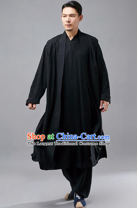 Chinese Traditional Costume Tang Suit Black Robe National Mandarin Jacket for Men