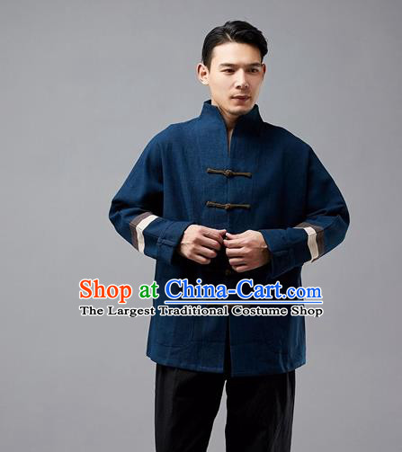 Chinese Traditional Costume Tang Suit Navy Overcoat National Mandarin Jacket for Men