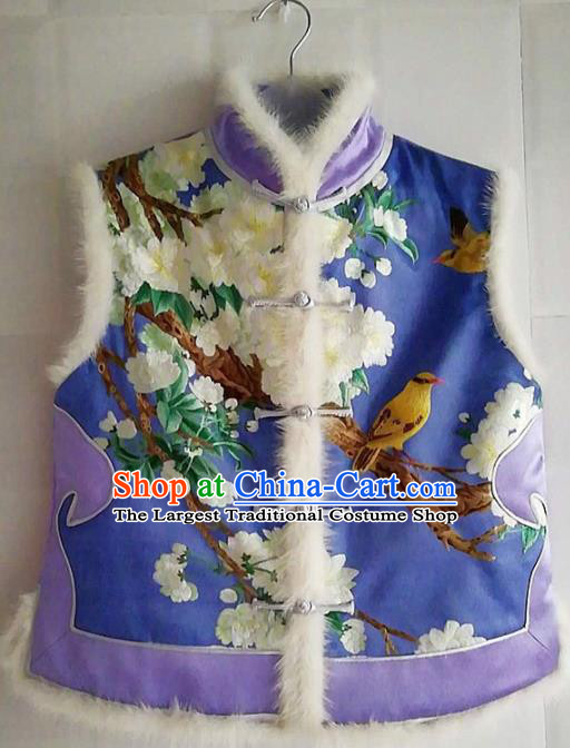 Chinese Traditional Costume Tang Suit Embroidered Vest National Purple Silk Waistcoat for Women