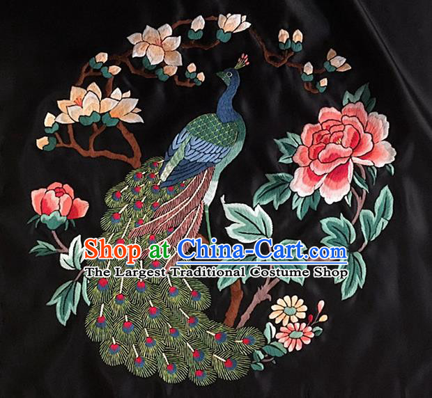 Chinese Traditional Embroidery Craft Embroidered Peacock Peony Silk Patches Handmade Embroidering Accessories