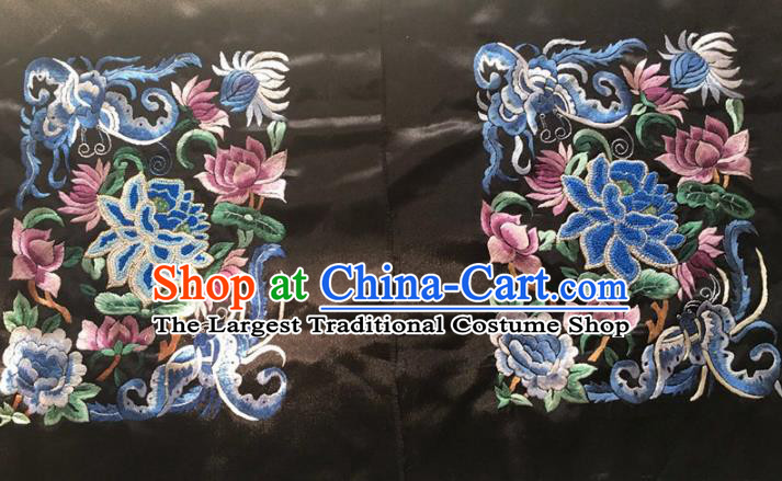 Chinese Traditional Embroidery Craft Embroidered Lotus Peony Silk Patches Handmade Embroidering Accessories