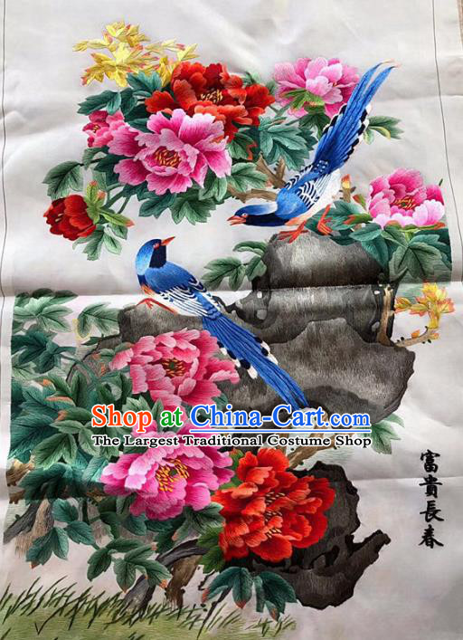 Chinese Traditional Embroidery Craft Embroidered Peony Magpie Silk Patches Handmade Embroidering Accessories