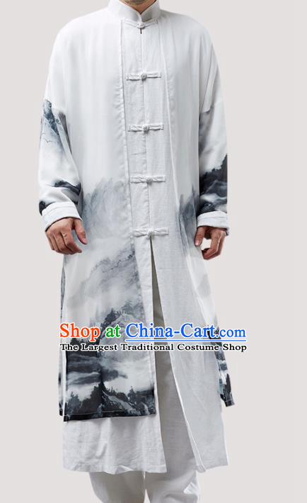 Chinese Traditional Costume Tang Suit Long Gown National Mandarin Robe for Men