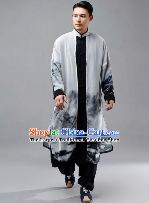Chinese Traditional Costume Tang Suit Black Long Gown National Mandarin Robe for Men