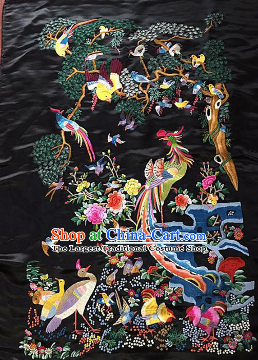 Chinese Traditional Embroidery Craft Embroidered Phoenix Silk Patches Handmade Embroidering Accessories