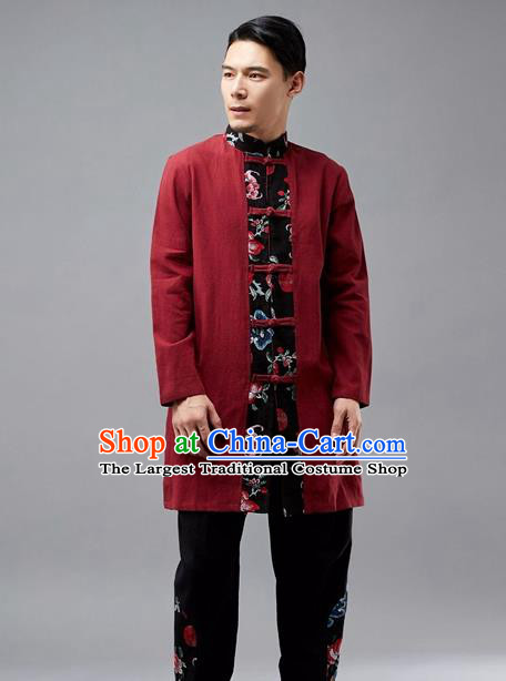 Chinese Traditional Costume Tang Suit Red Coat National Mandarin Jacket for Men