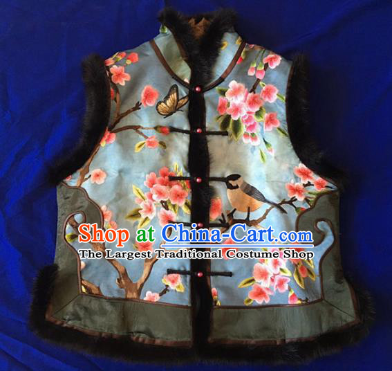 Chinese Traditional Costume Tang Suit Embroidered Blue Vest National Silk Waistcoat for Women