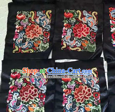 Chinese Traditional Handmade Embroidery Craft Embroidered Peony Butterfly Silk Patches Embroidering Accessories