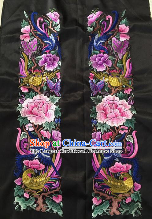 Chinese Traditional Handmade Embroidery Craft Embroidered Peony Birds Silk Patches Embroidering Accessories