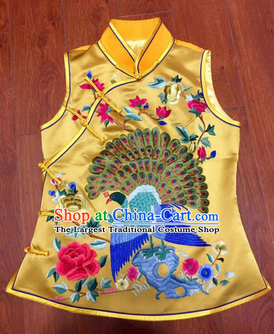 Chinese Traditional Costume Tang Suit Embroidered Yellow Vest National Silk Waistcoat for Women