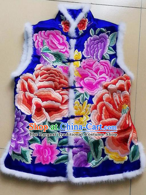 Chinese Traditional Costume Tang Suit Embroidered Peony Blue Vest National Silk Qipao Waistcoat for Women