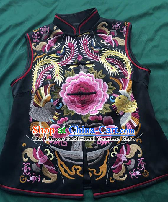 Chinese Traditional Costume Tang Suit Embroidered Peony Black Vest National Silk Qipao Waistcoat for Women