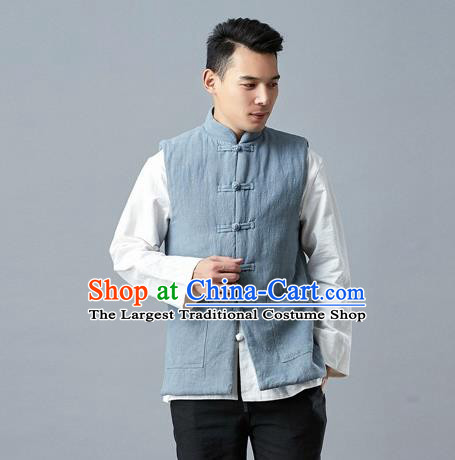 Chinese Traditional Costume Tang Suit Blue Vest National Mandarin Waistcoat for Men