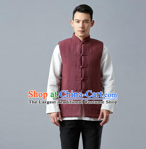 Chinese Traditional Costume Tang Suit Red Vest National Mandarin Waistcoat for Men