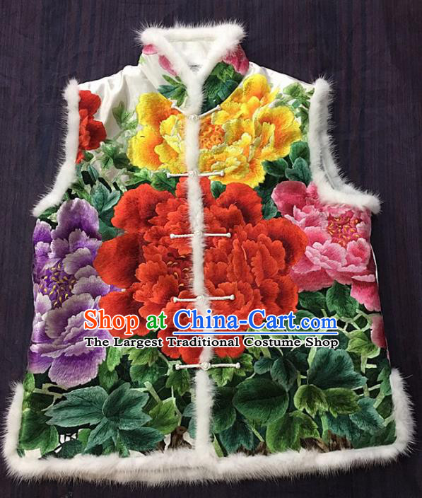 Chinese Traditional Costume Tang Suit Embroidered Peony Vest National White Silk Waistcoat for Women