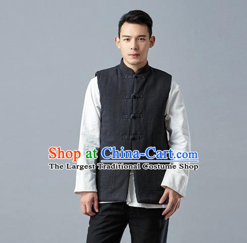 Chinese Traditional Costume Tang Suit Black Vest National Mandarin Waistcoat for Men