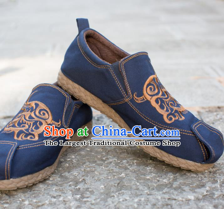 Chinese Traditional Martial Arts Shoes Kung Fu Shoes Navy Shoes for Men