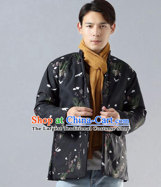 Chinese Traditional Costume Tang Suit Black Cotton Padded Jacket National Mandarin Overcoat for Men