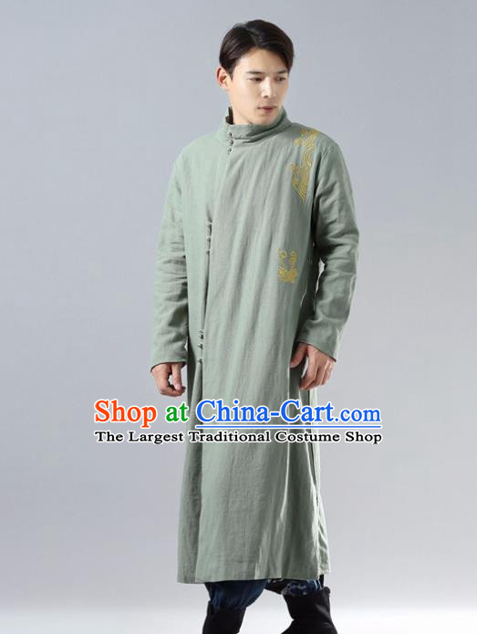 Chinese Traditional Costume Tang Suit Green Cotton Padded Robe National Mandarin Overcoat for Men