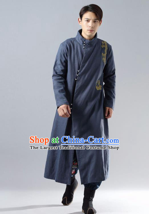 Chinese Traditional Costume Tang Suit Navy Cotton Padded Robe National Mandarin Overcoat for Men
