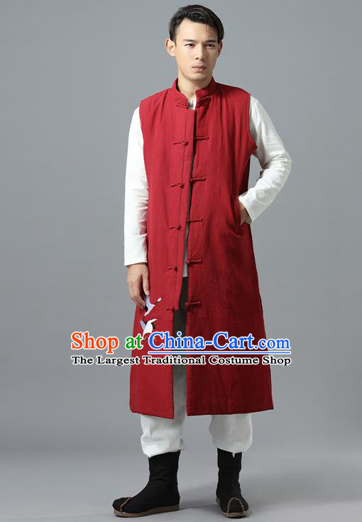 Chinese Traditional Costume Tang Suit Red Cotton Padded Vest National Mandarin Overcoat for Men