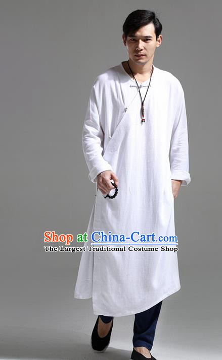 Chinese Traditional Costume Tang Suit White Slant Opening Robe National Mandarin Overcoat for Men