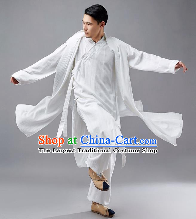 Chinese Traditional Costume Tang Suit White Robe National Mandarin Jacket for Men