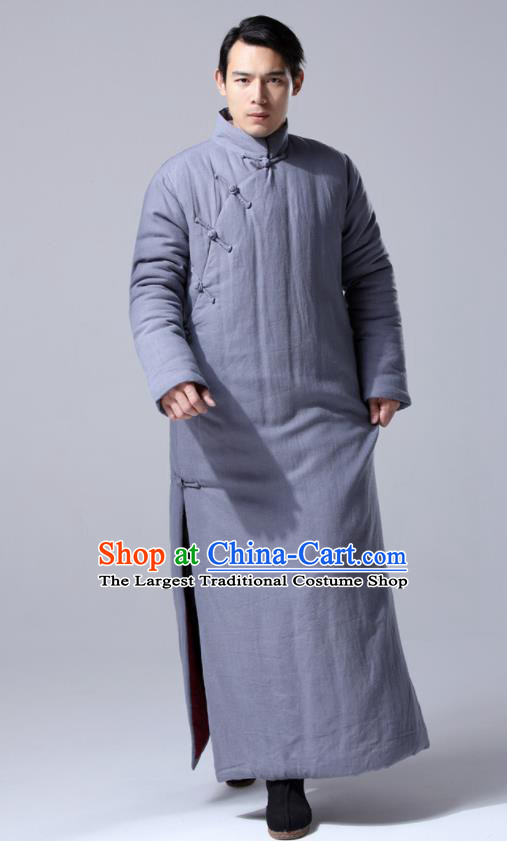 Chinese Traditional Costume Tang Suit Grey Cotton Wadded Robe National Mandarin Dust Coat for Men