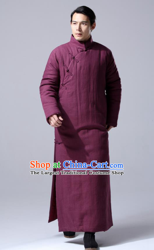 Chinese Traditional Costume Tang Suit Wine Red Cotton Wadded Robe National Mandarin Dust Coat for Men