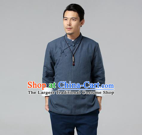 Chinese Traditional Costume Tang Suit Grey Jacket National Mandarin Upper Outer Garment for Men