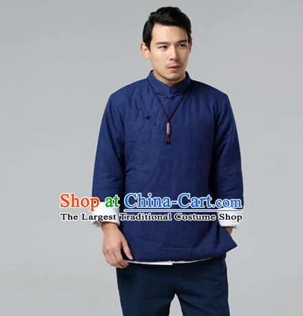 Chinese Traditional Costume Tang Suit Navy Jacket National Mandarin Upper Outer Garment for Men