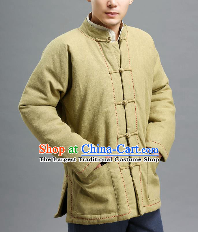 Chinese Traditional Costume Tang Suit Khaki Overcoat National Mandarin Cotton Wadded Jacket for Men