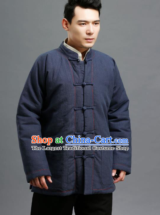 Chinese Traditional Costume Tang Suit Navy Overcoat National Mandarin Cotton Wadded Jacket for Men