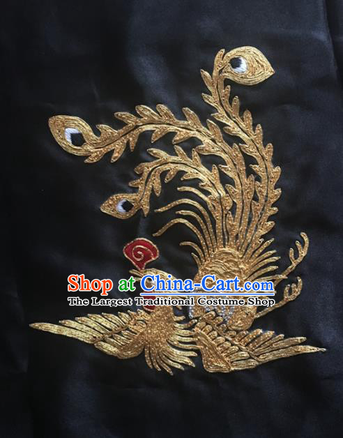 Chinese Traditional Handmade Embroidery Craft Embroidered Phoenix Cloth Patches Embroidering Silk Piece