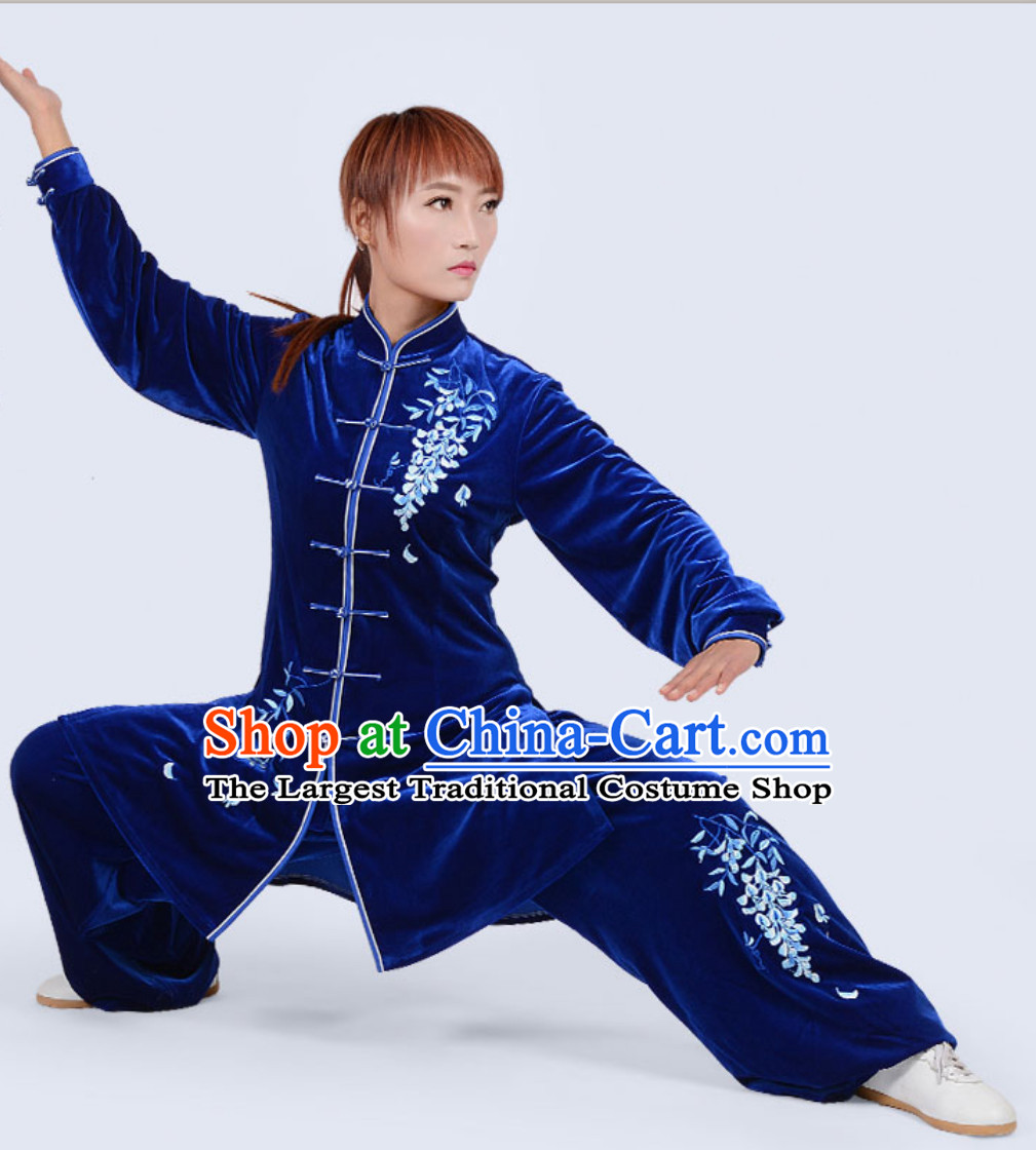 Top Winter Wear Asian Embroidered Tai Chi Clothing Martial Arts Dresses Complete Set for Women