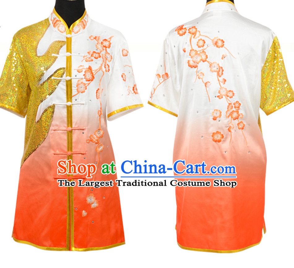 Color Transition Top Chinese Embroidered Dragon Taiji Outfit Martial Arts Uniforms Complete Set for Men or Women