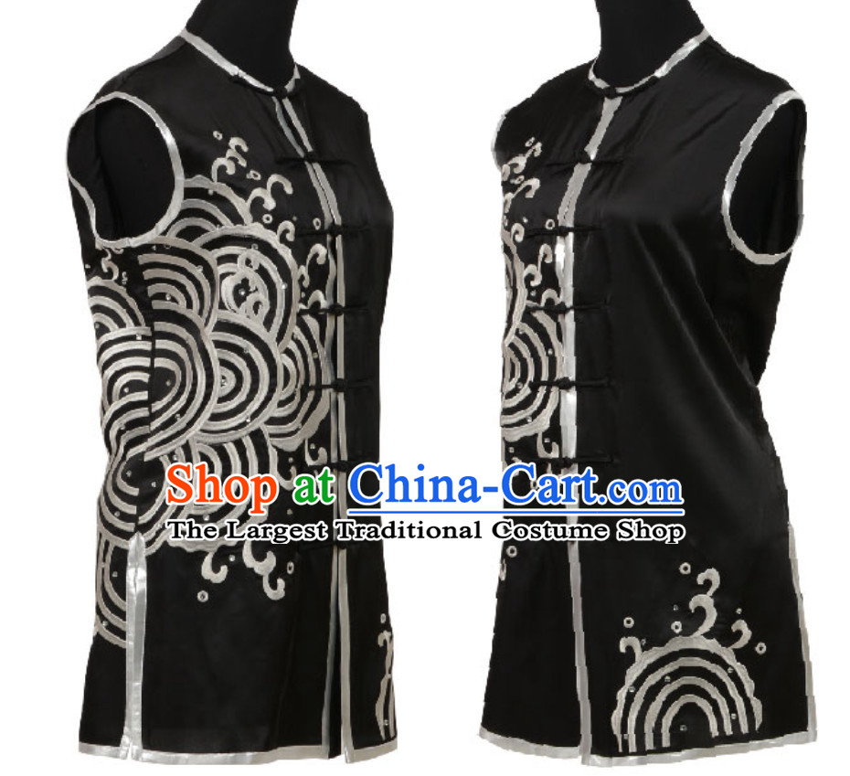 Black Top Chinese Embroidered Dragon Southern Fist Outfits Martial Arts Uniforms Complete Set for Men or Women