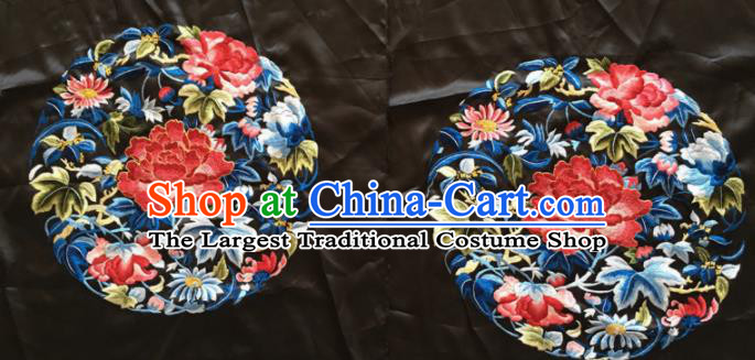 Chinese Traditional Handmade Embroidery Craft Embroidered Red Peony Silk Patches