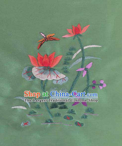 Chinese Traditional Handmade Embroidery Craft Embroidered Lotus Green Silk Patches