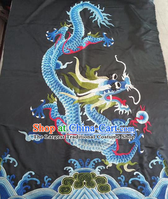 Chinese Traditional Handmade Embroidery Craft Embroidered Dragon Black Silk Patches
