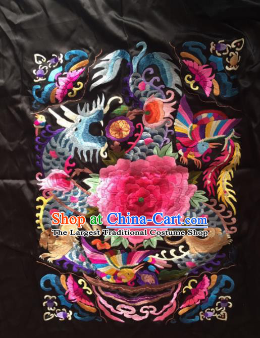 Chinese Traditional Handmade Embroidery Craft Embroidered Dragon Peony Black Silk Patches