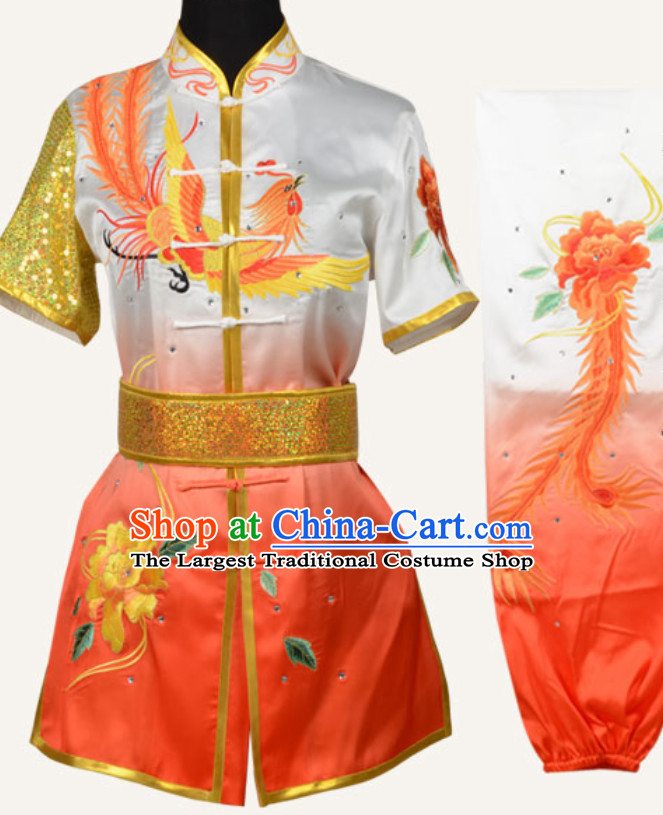 Top Chinese Embroidered Phoenix Peony Gongfu Outfits Martial Arts Uniforms Complete Set for Men or Women