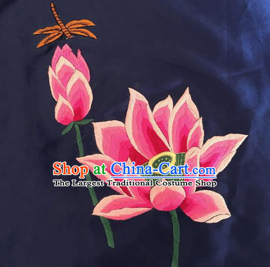 Chinese Traditional Embroidered Lotus Silk Patches Handmade Embroidery Craft