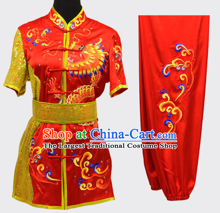 Lucky Red Top Short Sleeves Asian Embroidered Dragon Tai Chi Clothes Martial Arts Uniform Complete Set for Men or Women