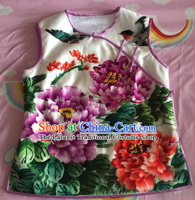 Chinese Traditional Costume Tang Suit Embroidered Peony White Silk Qipao Vest for Women