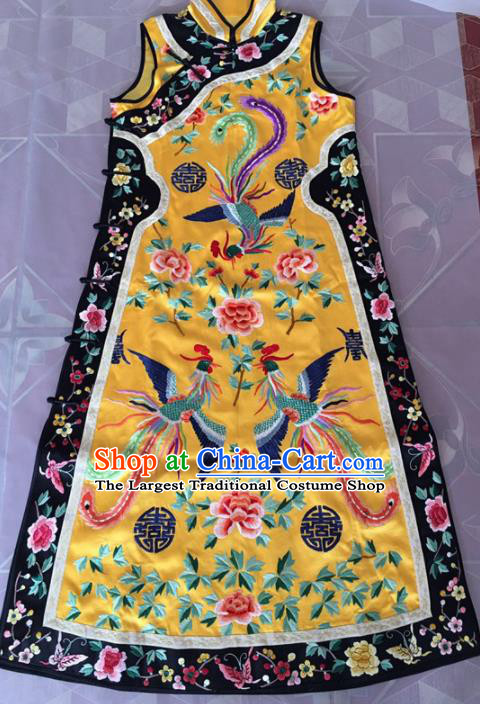 Chinese Traditional Costume Tang Suit Embroidered Qipao Yellow Cheongsam for Women